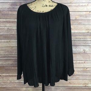 Ann Taylor black crinkle blouse, Size XL